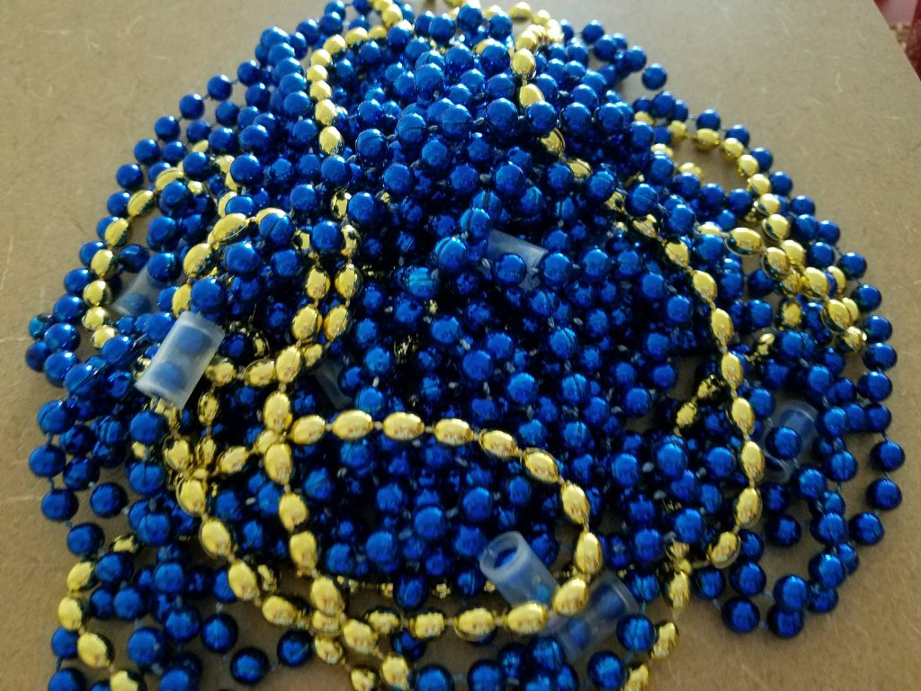 Gold and Blue Party Beads